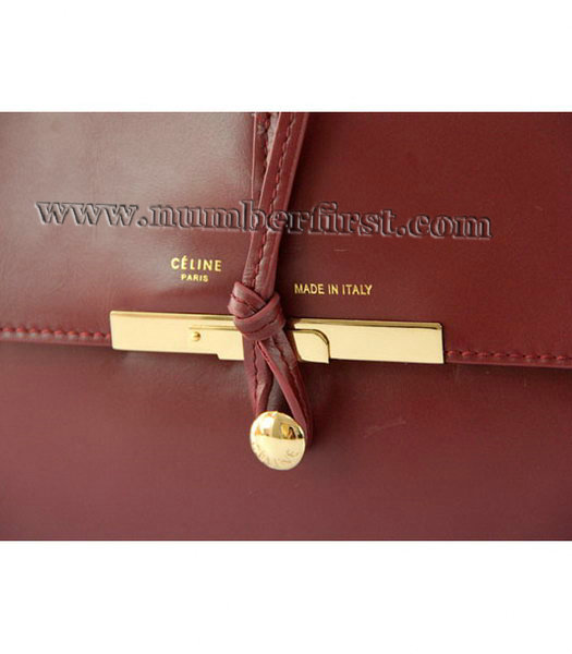 Celine Classic Flap Bag in Wine Red Leather-4