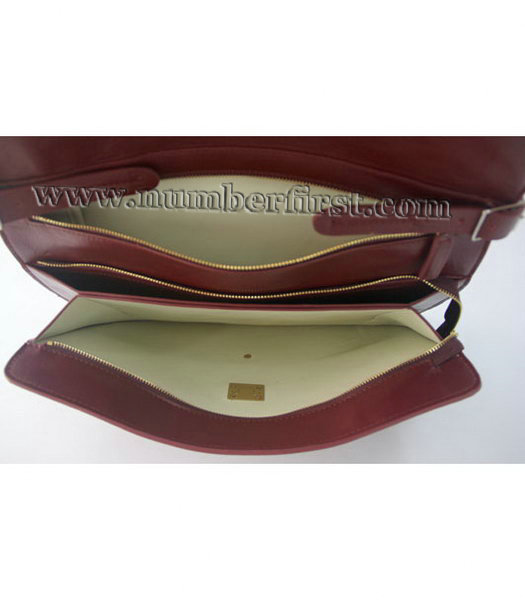 Celine Classic Flap Bag in Wine Red Leather-6