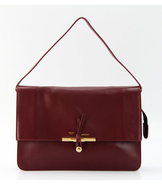 Celine Classic Flap Bag in Wine Red Leather
