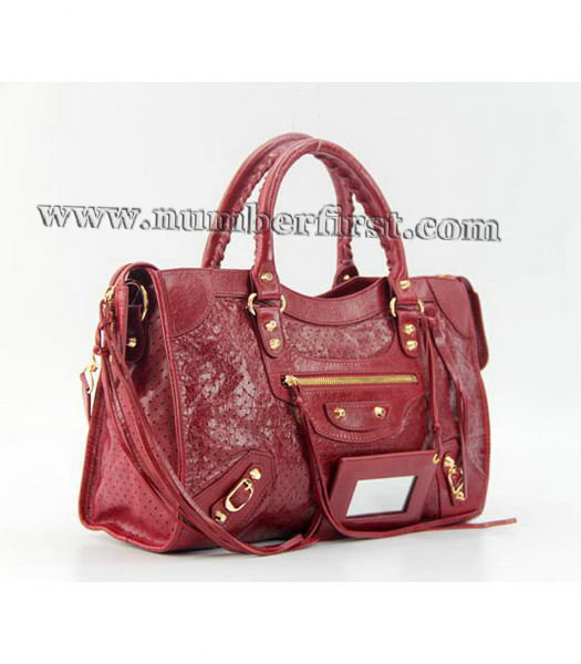 Balenciaga City Cross Bag Red Leather Gold Nails-1