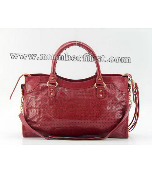 Balenciaga City Cross Bag Red Leather Gold Nails-2