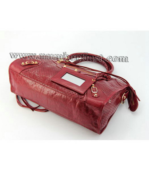 Balenciaga City Cross Bag Red Leather Gold Nails-3