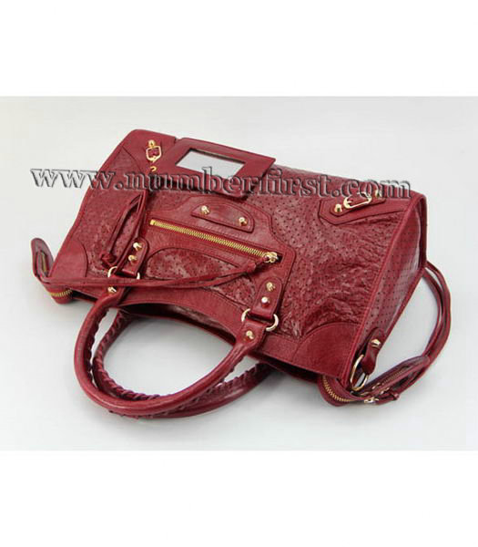 Balenciaga City Cross Bag Red Leather Gold Nails-4