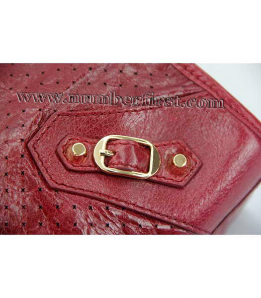 Balenciaga City Cross Bag Red Leather Gold Nails-5
