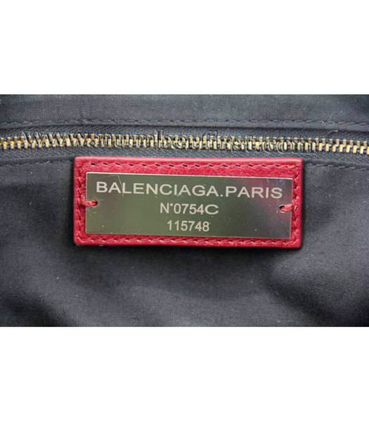 Balenciaga City Cross Bag Red Leather Gold Nails-7