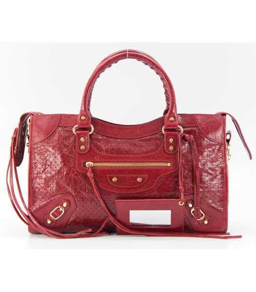 Balenciaga City Cross Bag Red Leather Gold Nails