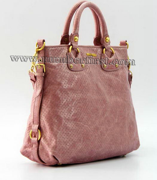 Miu Miu Tote Bag in Pink Oil Skin Leather-1