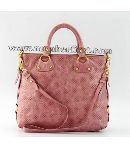 Miu Miu Tote Bag in Pink Oil Skin Leather-2