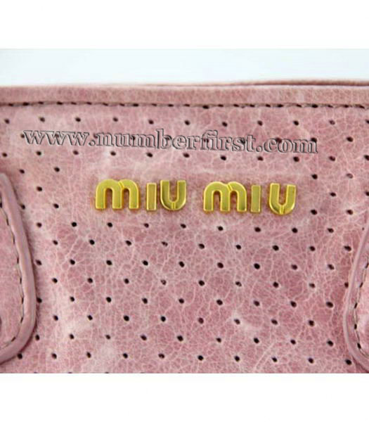 Miu Miu Tote Bag in Pink Oil Skin Leather-3