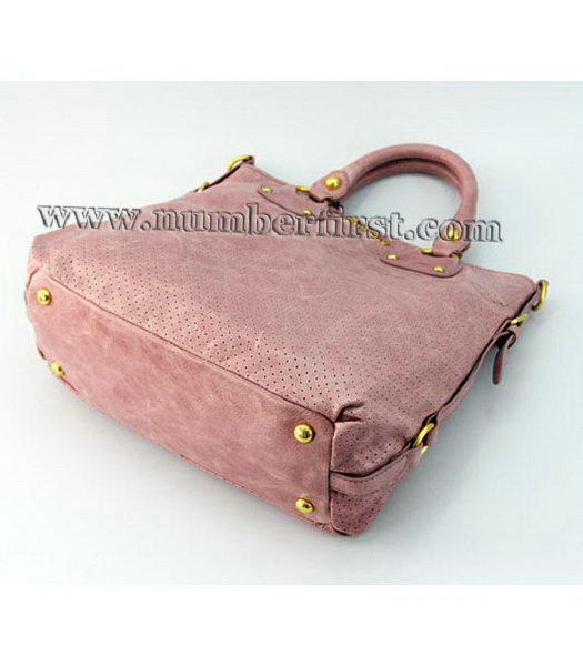Miu Miu Tote Bag in Pink Oil Skin Leather-4