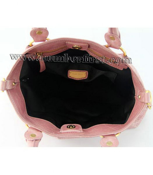 Miu Miu Tote Bag in Pink Oil Skin Leather-6