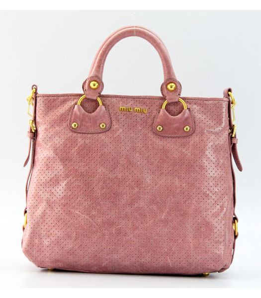 Miu Miu Tote Bag in Pink Oil Skin Leather