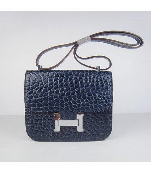 Hermes Constance Bag Silver Lock Dark Blue Stone Veins Leather