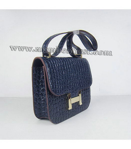 Hermes Constance Bag Gold Lock Dark Blue Stone Veins Leather-1