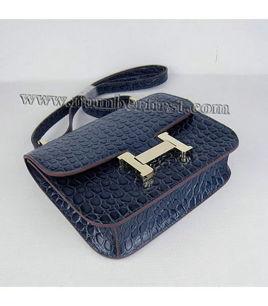 Hermes Constance Bag Gold Lock Dark Blue Stone Veins Leather-3