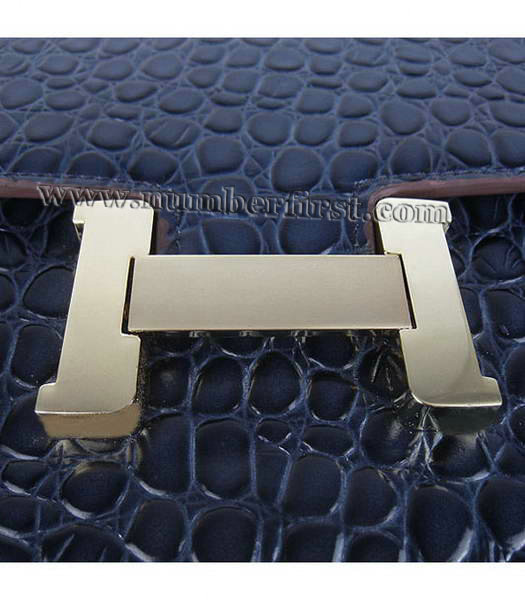 Hermes Constance Bag Gold Lock Dark Blue Stone Veins Leather-5