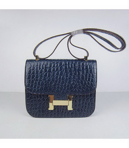 Hermes Constance Bag Gold Lock Dark Blue Stone Veins Leather