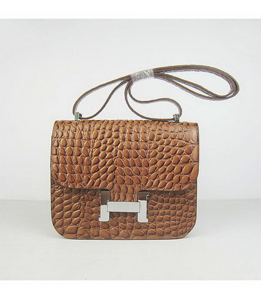 Hermes Constance Bag Silver Lock Light Coffee Stone Veins Leather