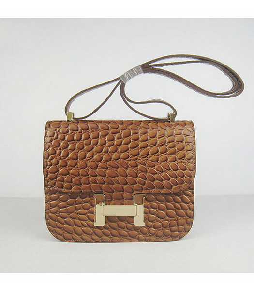 Hermes Constance Bag Gold Lock Light Coffee Stone Veins Leather
