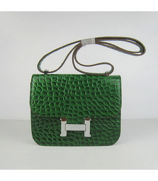 Hermes Constance Bag Silver Lock Green Stone Veins Leather