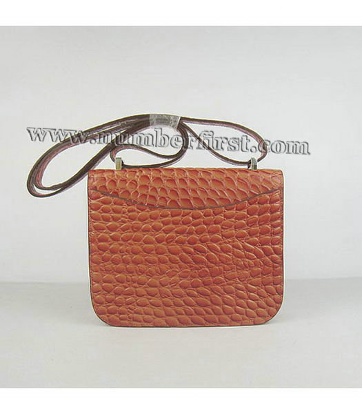 Hermes Constance Bag Silver Lock Orange Stone Veins Leather-2