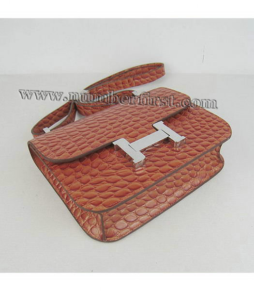 Hermes Constance Bag Silver Lock Orange Stone Veins Leather-3