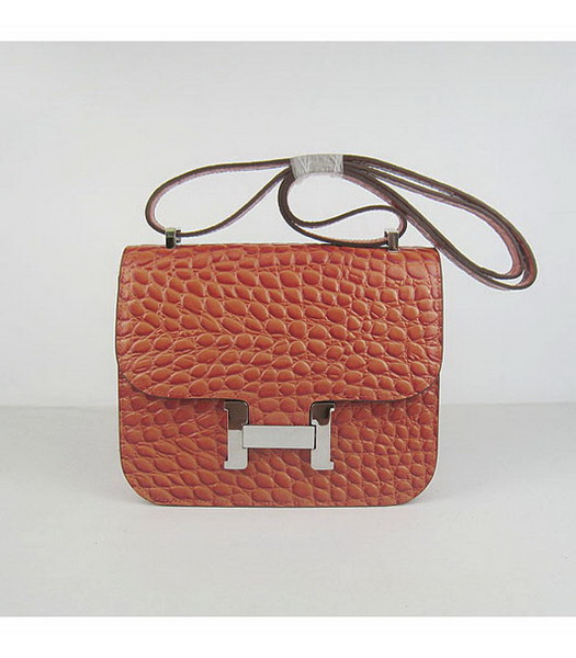 Hermes Constance Bag Silver Lock Orange Stone Veins Leather