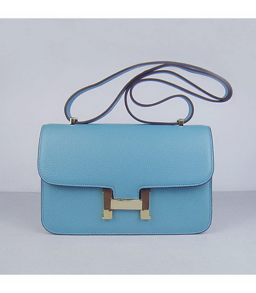 Hermes Constance Gold Lock Light Blue Togo Leather Bag