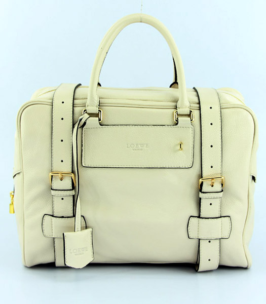 Loewe Bowling Bag in Offwhite Leather