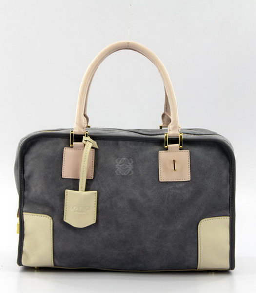 Loewe Amazone Nubuck Suede Leather Small Bag in Grey_Apricot_Pink