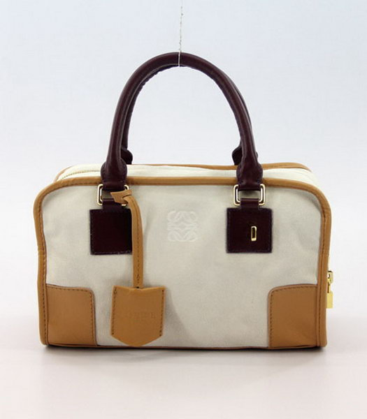 Loewe Amazone Nubuck Suede Leather Small Bag in Offwhite_Earth Yellow_Jujube Red