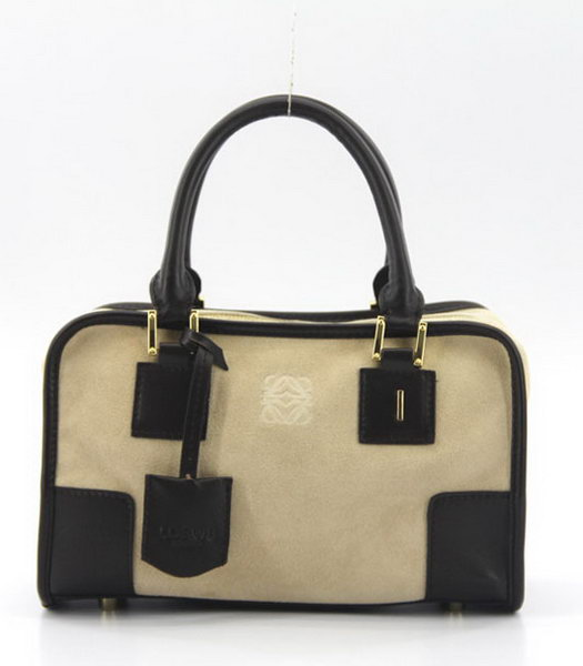Loewe Amazone Nubuck Suede Leather Small Bag in Apricot_Dark Coffee