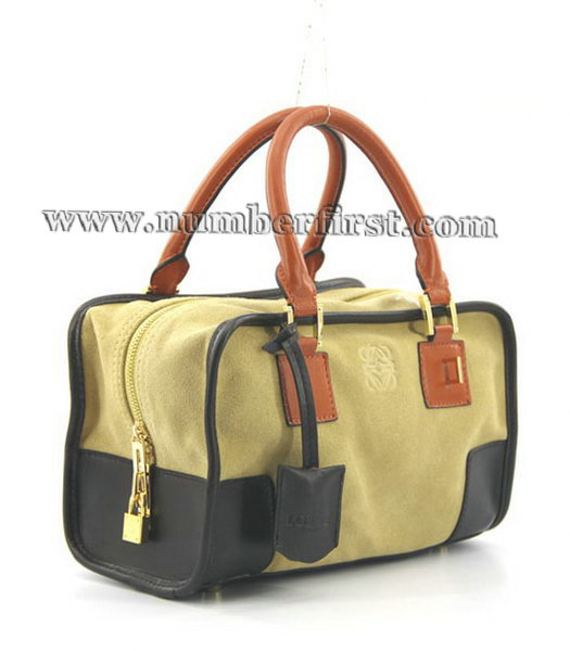 Loewe Amazone Nubuck Suede Leather Small Bag in Earth Yellow_Dark Coffee_Orange-1