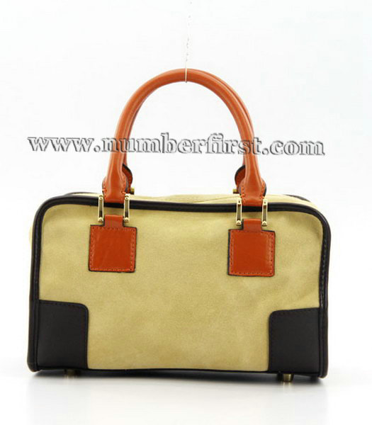 Loewe Amazone Nubuck Suede Leather Small Bag in Earth Yellow_Dark Coffee_Orange-2