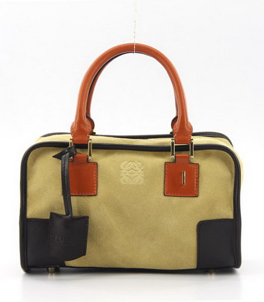 Loewe Amazone Nubuck Suede Leather Small Bag in Earth Yellow_Dark Coffee_Orange