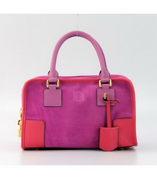 Loewe Amazone Nubuck Suede Leather Small Bag in Fuchsia