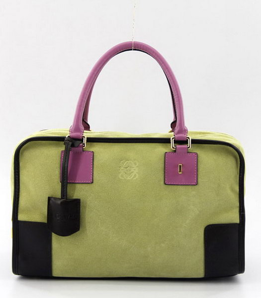 Loewe Amazone Nubuck Suede Leather Bag in Green_Dark Coffee_Fuchsia