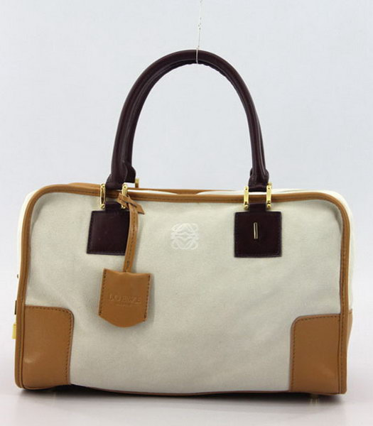 Loewe Amazone Nubuck Suede Leather Bag in Offwhite_Earth Yellow_Jujube Red
