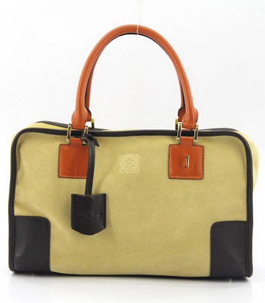 Loewe Amazone Nubuck Suede Leather Bag in Earth Yellow_Dark Coffee_Orange