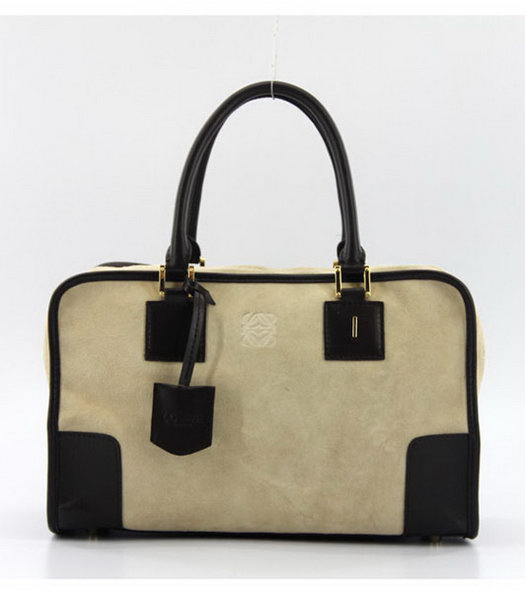Loewe Amazone Nubuck Suede Leather Bag in Apricot_Dark Coffee