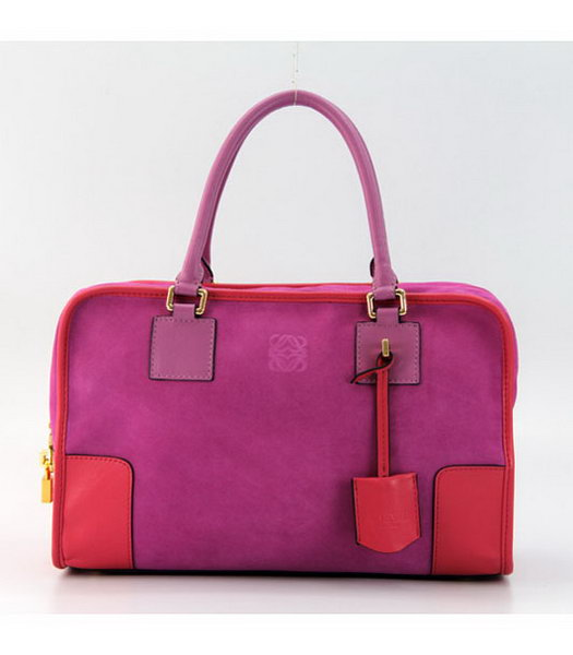 Loewe Amazone Nubuck Suede Leather Bag in Fuchsia