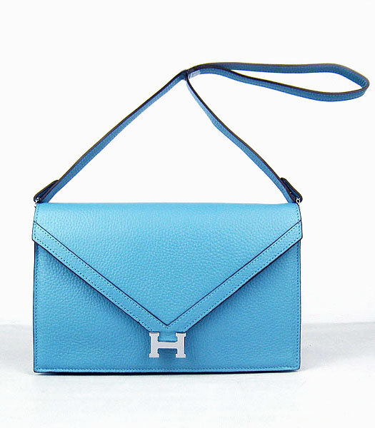 Hermes Small Envelope Message Bag Light Blue Leather with Silver Hardware