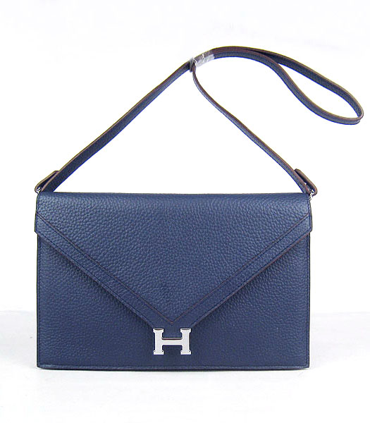 Hermes Small Envelope Message Bag Dark Blue Leather with Silver Hardware