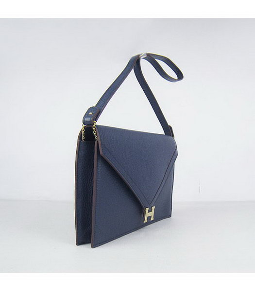 Hermes Small Envelope Message Bag Dark Blue Leather with Gold Hardware-1