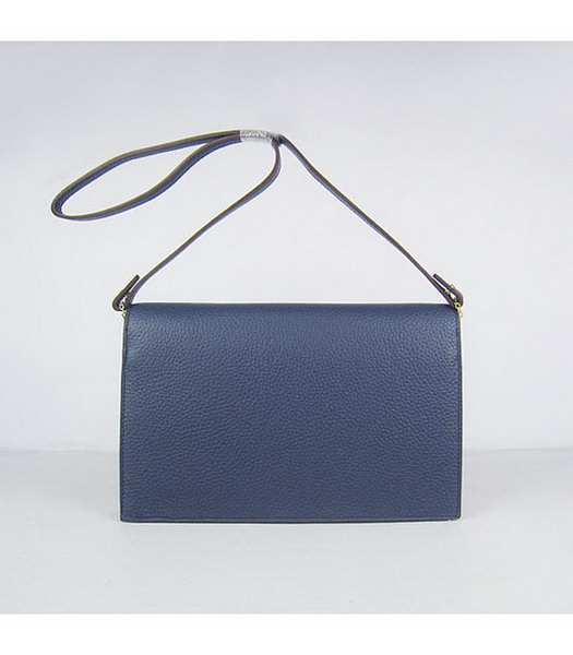 Hermes Small Envelope Message Bag Dark Blue Leather with Gold Hardware-2