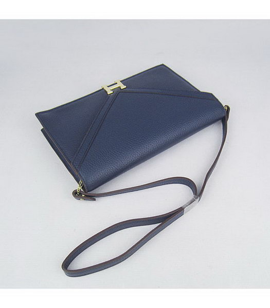 Hermes Small Envelope Message Bag Dark Blue Leather with Gold Hardware-3