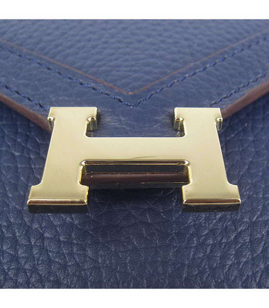 Hermes Small Envelope Message Bag Dark Blue Leather with Gold Hardware-4