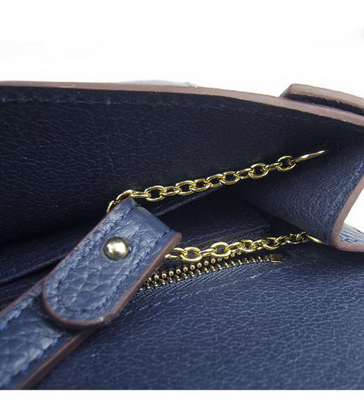 Hermes Small Envelope Message Bag Dark Blue Leather with Gold Hardware-6
