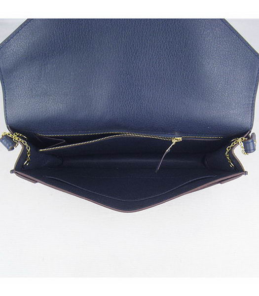 Hermes Small Envelope Message Bag Dark Blue Leather with Gold Hardware-7
