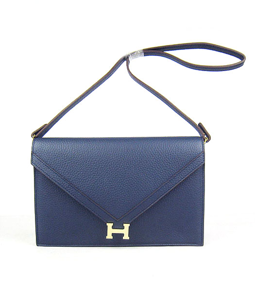 Hermes Small Envelope Message Bag Dark Blue Leather with Gold Hardware